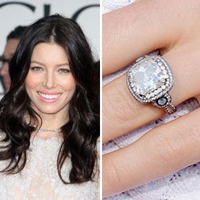 It's a vintage style, square cut engagement ring for Jessica Biel.