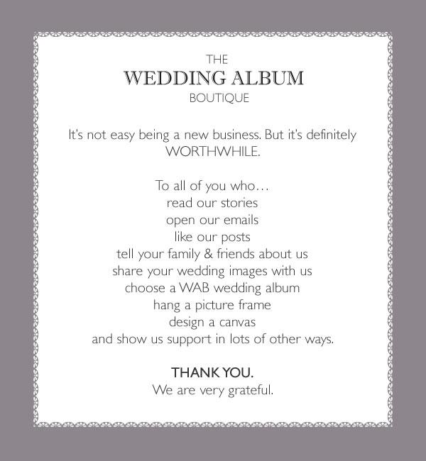 Thank You | Wedding Album Boutique Blog